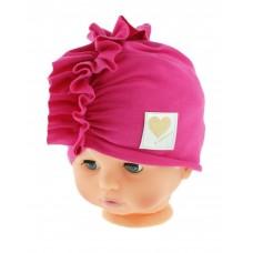 Czapka turban bawełniana 38-42  ciemno różowa